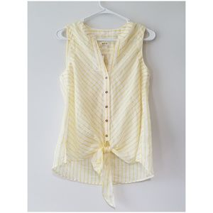 New Anthropologie Maeve Striped Tie Front Top